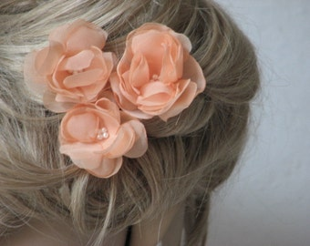 Peach hair flowers Peach hair clip Peach wedding Peach hair piece Peach hair accessory Hair flower Peach wedding flower Wedding hair piece