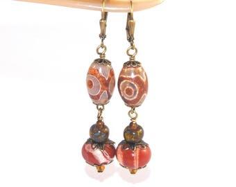 Genuine Gemstone Earrings, Agate & Jasper, Handmade in New Zealand