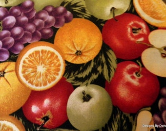 One Half Yard Cut Quilt Fabric, Red and Green Apples, Purple Grapes, Kiwi, Oranges, Green Pears, Sewing-Quilting-Craft Supplies