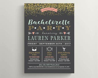 Printable Bachelorette Party, Lingerie Shower Invitation \ Gold glitter with Charcoal, Coral and Mint (BR198)