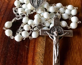 Handmade bridal rosary: 10mm white jade beads with double wedding ring Our Father beads,  large immaculate medal center and Italian crucifix
