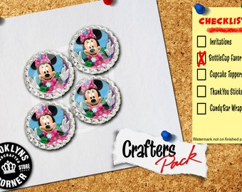 Minnie Mouse Inspired - Crafters Pack - Set of 4 Flattened Bottle Caps - For Crafting, Hair Bows, Pendants, Magnets