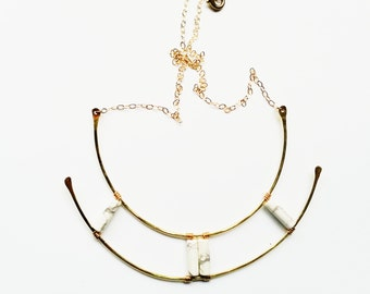 DIONE | Brass Statement Necklace with Howlite, Lapis Lazuli, or Onyx on Gold-Filled Chain