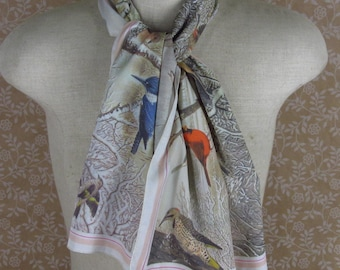 1979 Bird Print Scarf Oblong National Wildlife Federation Nature Print