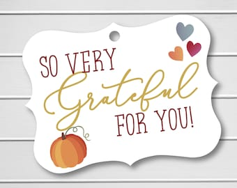 Thanksgiving Favor Tag, So Very Grateful for You!, Favor Hang Tags, Pumpkin Thank You Tag (EC-453)