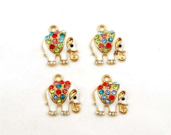 4 Gold Plated White Enameled Elephant Charms With Multi-Colored Rhinestones - 21-34-14