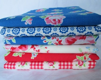 Lecien Flower Sugar 2014 Red and Blue Fat Quarter Bundle of 6, Japanese fabric