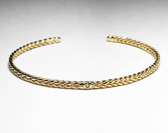 14k Yellow Gold and Tiny Diamond Thin Braid Stacking Bracelet