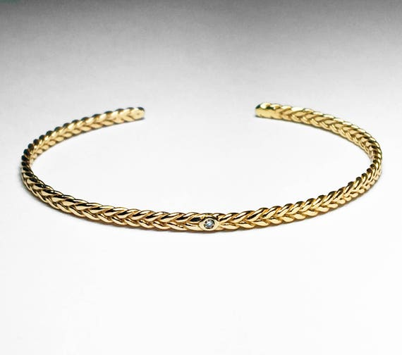 10k Yellow Gold and Tiny Diamond Thin Braid Stacking Bracelet