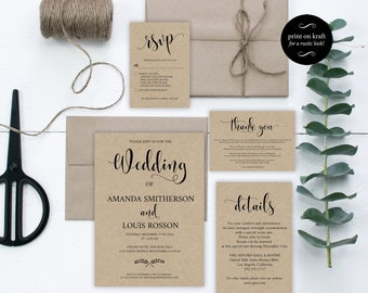 Wedding invitation suite printable. Rustic wedding invitation cards, PDF instant download. Modern and simple calligraphy wedding #WDH900_2