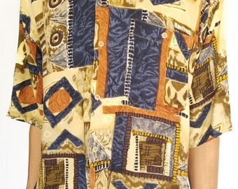 Vintage 1990s Abstract Printed Short Sleeve Button-Up / Size (L/XL)