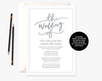 Printable Wedding Invitation, Modern Invitation, Wedding Invitations, Simple Modern, Digital Mod Invite, Wedding, Printable Wedding Invite