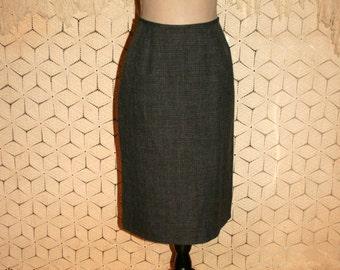 Gray Skirt Tweed Skirt Plaid Skirt Midi Skirt Medium Large Womens Skirts Traditional Fall Winter Skirts Size 12 Skirt Vintage Clothing