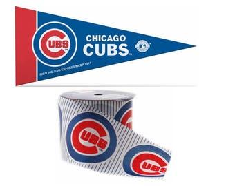 "2.5"" MLB Chicago Cubs Ribbon, 9 feet & Mini Pennant, Licensed MLB Offray Ribbon"