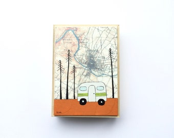 Little Airstream Camper Art with Austin Map // 5x7 Map Painting on Wood by Rachel Austin