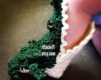 Crocheted Infant Alligator Slipper Socks **MADE TO ORDER**