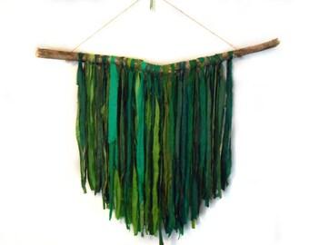 Green Recycled Sari Silk and Driftwood Wall Hanging