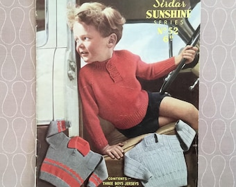 Vintage Original Knitting Pattern - Three Jerseys for Boys, Sirdar 'Sunshine Series' No: 52, c1950's, Collectable