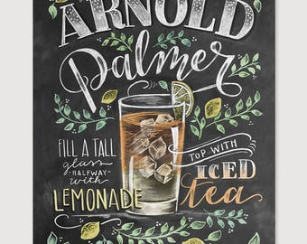 Arnold Palmer - Chalk Art - Summer Art - Cocktails - Hand Drawn - Illustration - Home Decor - Art Print - Recipe Print - For the Kitchen