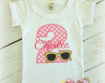 Sunglasses birthday shirt - summer themed birthday shirt - gold shades with number - personalized birthday shirt with sunglasses