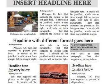Front page newspaper template ms word document designed by a teacher newspaper template instant download for unlimited use in ms word saigontimesfo