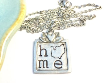 ALL 50 STATES available ~ Long Distance e Home Necklace ~ Pewter ~ Flower ~ Necklace ~ College Gift ~ Michigan ~ State Pride ~ Gift under 20