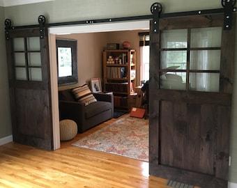 Custom Rustic Barn Door with Windows