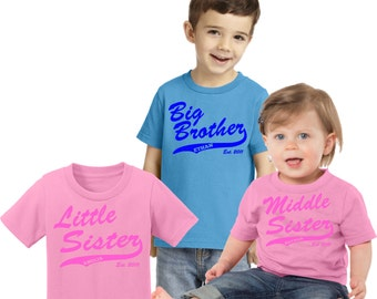 PERSONALIZED SIBLINGS SET of 3 with athletic swish : big/little brother; big/little sister; middle brother/sister, includes birth year. ch