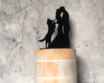 German Shepherd Wedding Cake Topper, Bride Groom and German Shepherd, Couple and Dog Silhouette Wedding Cake Topper, Acrylic Cake Topper