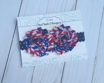 Fourth of July headband- red white and blue, 4th of July accessories, baby head band, memorial day, patriotic baby, stars and stripes