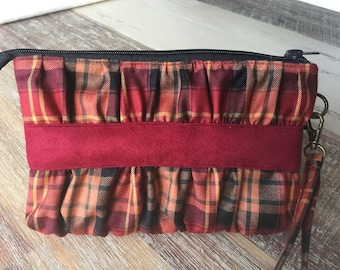 Red and gold checked clutch, zipper pouch, wristlet, Andrie designs, Gather me up clutch, tartan, zipper pouch,