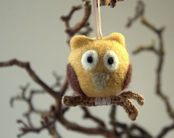 Owl ornament Felted wool owl needle felt gift crochet woodland nursery autumn fall Thanksgiving decoration decor twig grey beige