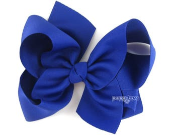 "Extra Large Hair Bow, Royal Blue Hair Bow, 6"" 6 inch hair bows, big bow, giant bow, extra large bow, jumbo bows, hair bows for girls xl"