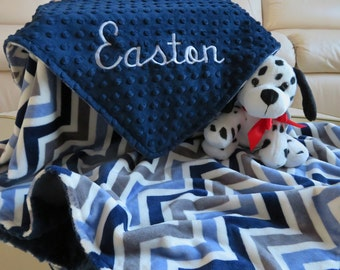 Baby Blanket, Baby Boy Blanket Personalized, Navy Blue Denim Baby Boy Blanket, Baby Gift, Baby Shower Gift, Minky Baby Blankets