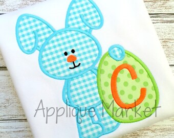 Machine Embroidery Design Applique Easter Egg Bunny Boy INSTANT DOWNLOAD