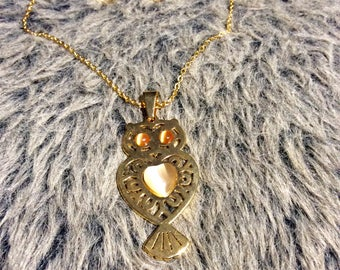 Owl You Need Is Love Jewelery Set. Owl necklace with a pair of heart shaped earrings.