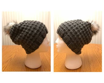 Knitted Hat With Faux Fur Pom