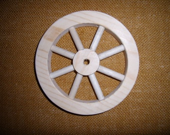 """Handcrafted, unfinished 6"""" wooden wheel Part No 1401-F"""