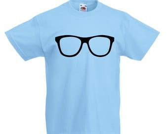 Kids Specs T-Shirt / Childrens Glasses T-Shirt in Light Blue, White, Pink, Green,  Orange Age: 3-4, 5-6, 7-8, 9-11, 12-13