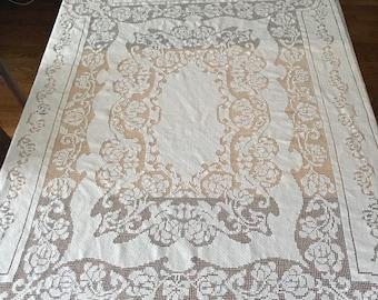 Vintage Ivory Lace Tablecloth, cream, Cotton, Shower, Wedding decor