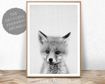 Fox Print, Printable Wall Art, Woodland Animal, Nursery Decor, Digital Download, Forest Animals, Black and White, Large Poster