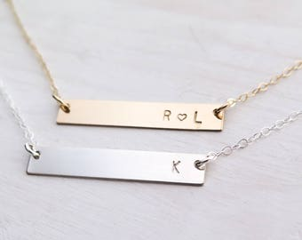 Horizontal Bar Necklace, Personalized, Gold Bar, Silver Bar, Skinny Bar, Dainty Jewelry, Minimalist Jewelry, Gold Filled, Sterling Silver