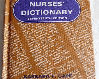 1960s Vintage Reference Book Nurses Dictionary Healthcare London England Excellent Condition