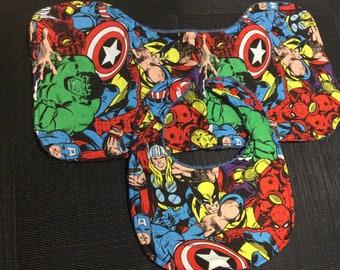 Dribble Bib & Burp Cloth Set - Marvel