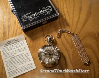 Serviced, 1976 WESTCLOX Country Gentleman Mechanical Winding Dollar Pocket Watch, Gold Color Toned Case, FOB & Plastic Watch Box