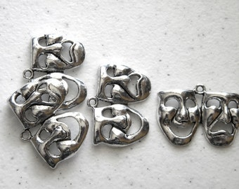 4 Silver Drama Charms - Comedy and Tragedy Masks