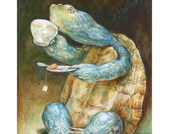 Savoring the Sip (print) turtle art, tea time, relax, tortoise, animal artwork, illustration