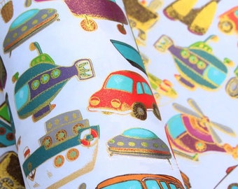 Fantastic, luxury gift wrap in a transport themed design with Gold Highlight, good quality gift warp