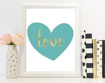 Love print, heart shaped print, love wall art, foil style print, Home decor, Love quote, Duck egg print