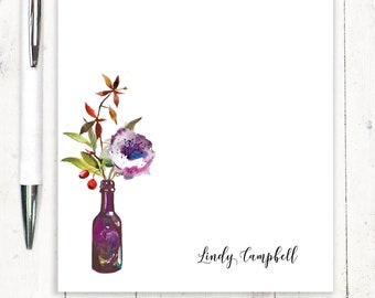 Personalized Notepad - stationary - custom stationery - watercolor floral - flower notepad - Watercolor Flowers in PURPLE WINE BOTTLE